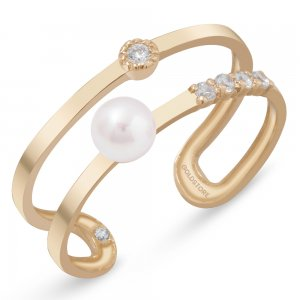 14K Solid Gold Half Eternity Modern Design Pearl Ring