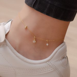 14K Solid Gold Drop Dangle Solitaire Like Ball Pearl Anklet