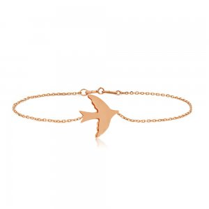 14K Solid Gold Swallow Bracelet
