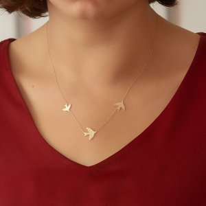 14K Solid Gold Swallow Bird Necklace
