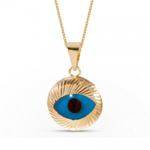 14K Solid Gold Evil Eye Necklace