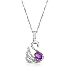 0.09ct. Diamond 925K Silver Modern Design Swan Amethyst Necklace