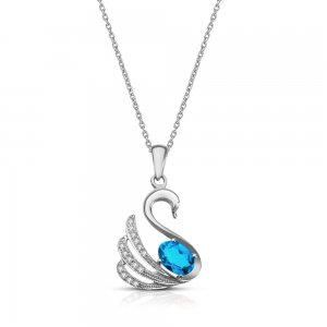 0.09ct. Diamond 925K Silver Modern Design Swan Blue Topaz Necklace