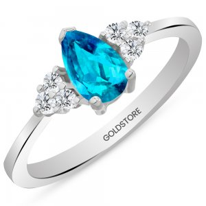 0.12ct. Diamond 14K Solid Gold Modern Design Blue Topaz Ring