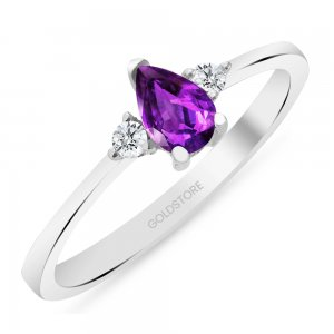 0.1ct. Diamond 14K Solid Gold Modern Design Amethyst Ring