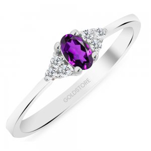 0.08ct. Diamond 14K Solid Gold Modern Design Amethyst Ring