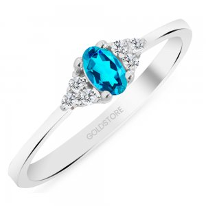 0.08ct. Diamond 14K Solid Gold Modern Design Blue Topaz Ring