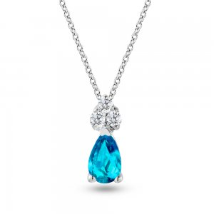 0.04ct. Diamond 14K Solid Gold Classic Blue Topaz Necklace