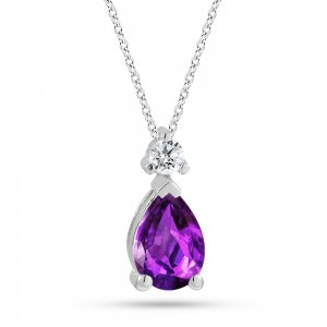0.05ct. Diamond 14K Solid Gold Classic Amethyst Necklace