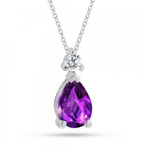 0.06ct. Diamond 14K Solid Gold Classic Amethyst Necklace