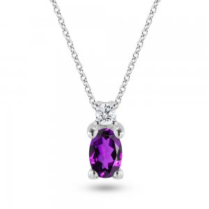 0.04ct. Diamond 14K Solid Gold Classic Amethyst Necklace