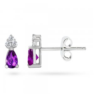 0.08ct. Diamond 14K Solid Gold Classic Amethyst Earring
