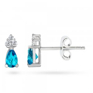 0.08ct. Diamond 14K Solid Gold Classic Blue Topaz Earring