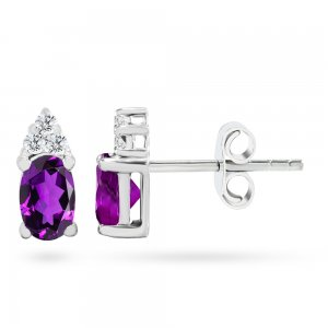 0.1ct. Diamond 14K Solid Gold Classic Amethyst Earring