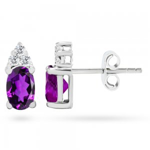 0.12ct. Diamond 14K Solid Gold Classic Amethyst Earring