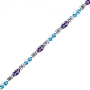 0.93ct. Diamond 18K Solid Gold Tennis Amethyst Bracelet