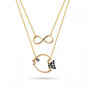 0.03ct. Diamond 14K Solid Gold Infinity Fish Necklace