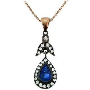 0.15ct. Diamond 0.30ct. Sapphire 8K Solid Gold Modern Design Rose Cut Necklace