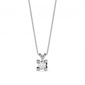 0.15ct. Diamond 14K Solid Gold Solitaire Classic Necklace