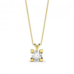 0.3ct. Diamond 14K Solid Gold Solitaire Classic Necklace