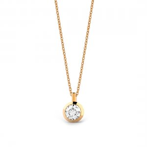 0.3ct. Diamond 14K Solid Gold Solitaire Necklace