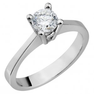 0.46ct. Diamond 18K Solid Gold Solitaire Classic Ring