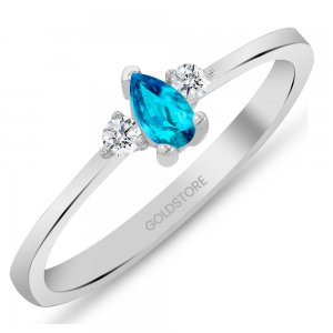 0.09ct. Diamond 14K Solid Gold Modern Design Blue Topaz Ring