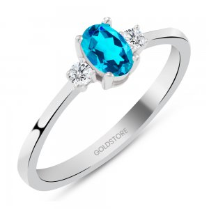 0.1ct. Diamond 14K Solid Gold Modern Design Blue Topaz Ring