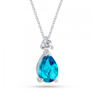 0.05ct. Diamond 14K Solid Gold Classic Blue Topaz Necklace