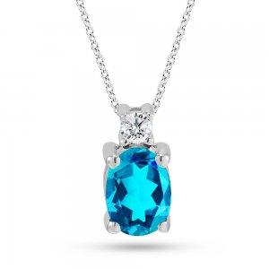 0.06ct. Diamond 14K Solid Gold Classic Blue Topaz Necklace