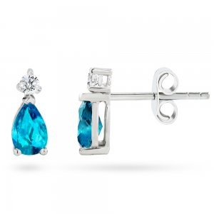 0.1ct. Diamond 14K Solid Gold Classic Blue Topaz Earring