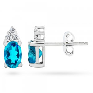 0.12ct. Diamond 14K Solid Gold Classic Blue Topaz Earring