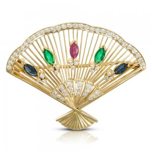 0.55ct. Diamond 0.60ct. Sapphire 0.25ct. Ruby 0.40ct. Emerald 18K Solid Gold Modern Design Brooch