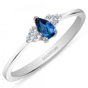 0.08ct. Diamond 0.22ct. Sapphire 14K Solid Gold Modern Design Ring