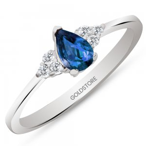 0.1ct. Diamond 0.26ct. Sapphire 14K Solid Gold Modern Design Ring