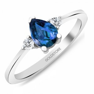 0.12ct. Diamond 0.65ct. Sapphire 14K Solid Gold Modern Design Ring