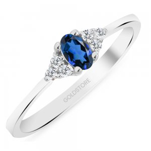 0.08ct. Diamond 0.25ct. Sapphire 14K Solid Gold Modern Design Ring