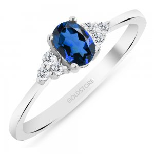 0.1ct. Diamond 0.40ct. Sapphire 14K Solid Gold Modern Design Ring