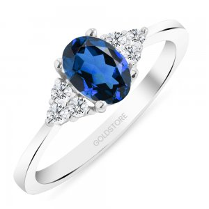 0.12ct. Diamond 1.00ct. Sapphire 14K Solid Gold Modern Design Ring