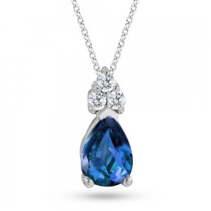 0.06ct. Diamond 0.22ct. Sapphire 14K Solid Gold Classic Necklace