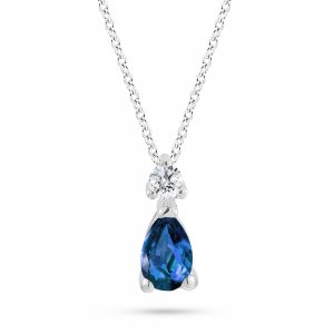 0.04ct. Diamond 0.22ct. Sapphire 14K Solid Gold Classic Necklace