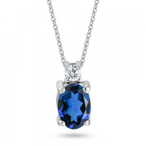 0.05ct. Diamond 0.22ct. Sapphire 14K Solid Gold Classic Necklace