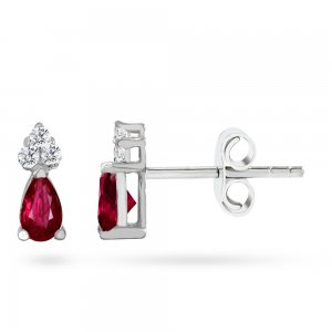0.08ct. Diamond 0.42ct. Ruby 14K Solid Gold Classic Earring