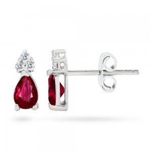 0.1ct. Diamond 0.44ct. Ruby 14K Solid Gold Classic Earring