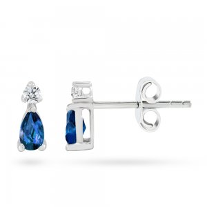 0.08ct. Diamond 0.44ct. Sapphire 14K Solid Gold Classic Earring