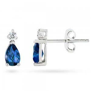 0.1ct. Diamond 0.44ct. Sapphire 14K Solid Gold Classic Earring