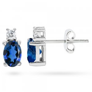 0.12ct. Diamond 0.44ct. Sapphire 14K Solid Gold Classic Earring