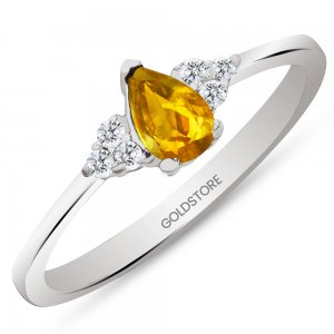 0.1ct. Diamond 14K Solid Gold Modern Design Citrine Ring