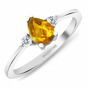 0.12ct. Diamond 14K Solid Gold Modern Design Citrine Ring