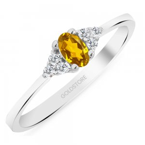 0.08ct. Diamond 14K Solid Gold Modern Design Citrine Ring